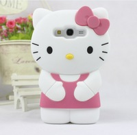 1pcs Free ship 3D Hello Kitty Silicone Soft Back Cover Case For Samsung Galaxy Grand Duos i9082