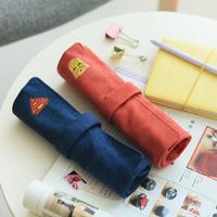 LZ Korea stationery vintage brief canvas roll pencil case pencil bags 25.2*19cm