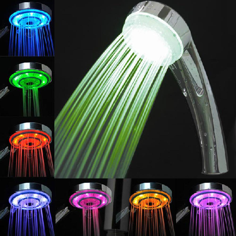 LED Rain Bathroom Shower Head Hand Shower With Romantic Changing Randomly 7 Colors Rainfall Light Free Shipping(China (Mainland))