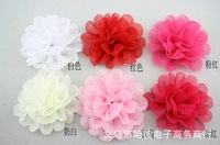"3.9"" 3D Solid Color NEW Holes Trim Fashion Chiffon Fabric Flower Appliques ""11 Colors to Chose""  Wholesale EMS Free Shipping"