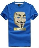 DIY personality V for Vendetta T Shirt Custom DIY Tee band short t-shirt printing, round neck 100% Cotton custom logo