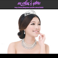 GIFT BOX Luxurious rhinestone simulated-pearl waterdrop-shaped multilayer necklace earrings crown bridal wedding jewelry set