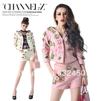 Free shipping  winter  autumn fashion small three-dimensional flower woolen outerwear shorts twinset jacket+short trousers 406