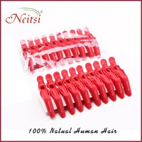 Free Shipping Wholesale Hair Clamp 10PCS Hair Grip Red Clips Plastic Professional Hairdressing Salon Section