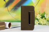 New Hot Squirrel Grain Combo With Iron Buckle Flip Wallet Leather Case  For S4 i9500 Credit Card Holders Packet Free Shipping