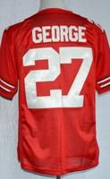 Cheap Men's American Football Ohio State Buckeyes Eddie George 27 College Jerseys- Scarlet Sewing Logos Size M-3XL Free Shipping