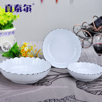 White porcelain chinese style scodella ceramic plate fruit plate dish cake pan dishes
