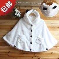 2014 autumn and winter school wear cloak shoulder width plush thickening sweater outerwear women's