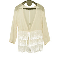 Women Button Closure Semi Sheer 3/4 Sleeve Beige Chiffon Blouse XS