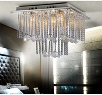 Modern minimalist bedroom ceiling decorated with crystal lamps living room lamps den restaurant square lamps X913