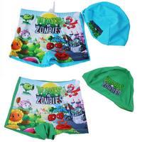 Retail! free Shipping Child swimwear baby kids swimming trunks boys cartoon plant swimwear trunk florizone with hat cap