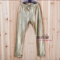 Retail Hot sell 2014 Fashion New Arrivals Summer-Autumn Kids Girls Leggings Children'S  Gold Leggins Babys Pants