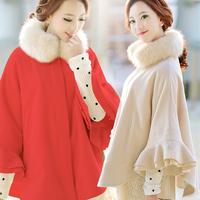 2013 plus size clothing cape fur collar cloak woolen outerwear wool coat