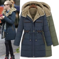 Winter jacket women fashion Europe and America slim thickening  liner wadded jacket parka womens coat 6206 free shipping