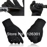 Black Stainless Steel Wire Safety Works Anti-Slash Cut Static Resistance Gloves