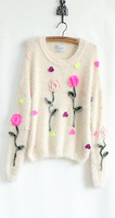 2013 sweet three-dimensional flower mohair sweater loose pullover sweater autumn and winter stereo