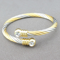 18K gold plated fashion wire bangle stainless steel  bangle for women and men 5MM wide