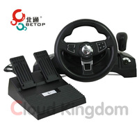 Betop BTP-3185 USB Wired Computer Steering Wheel with Pedal for Racing Games on Windows PC