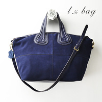 2013 autumn first layer of cowhide nubuck leather patchwork big bags fashion casual female