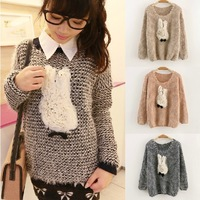 Autumn Korean version of casual wild mohair sweater pullover