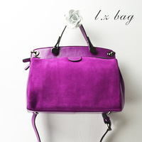 2013 autumn women's genuine leather handbag double zipper nubuck leather cowhide vintage one shoulder cross-body