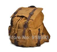Men's Vintage Canvas Leather Backpack Rucksack Satchel Military Sport bag