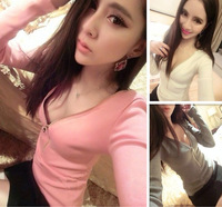 Fashion elegant 342 2013 V-neck small sexy zipper long-sleeve basic t shirt
