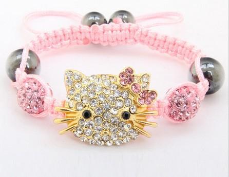 Free shipping!10mm Hotsale Hello Kitty Micro Pave Disco Ball Beads Bangles BCE Crystal Shamballa Bracelet jewelry Christmas Gift(China (Mainland))