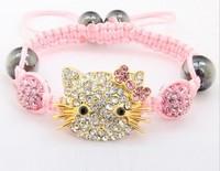 Free shipping!10mm Hotsale Hello Kitty Micro Pave Disco Ball Beads Bangles BCE Crystal Shamballa Bracelet jewelry Christmas Gift