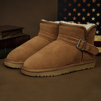Male cowhide wool snow boots 2013 cotton-padded shoes thermal hasp flat heel boots