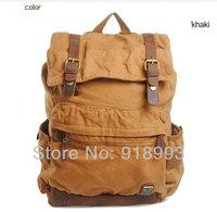Vintage Canvas Leather Backpack Rucksack Satchel Military Sport bag For Men