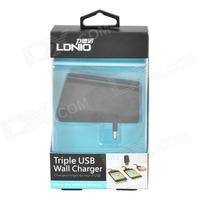 DL-AC318 Universal 3-USB Port 10W 5V 2100~3100mA 2-Flat-Pin Plug Power Charging Adapter - Black