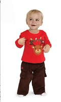 new boy's red reindeer leisure long-sleeved two-piece outfit 5sets/lot