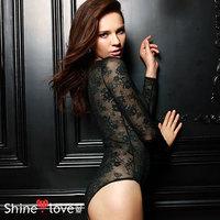 Women's sexy decorative pattern lace one piece long-sleeve T-shirt triangle one piece underwear plus size customize