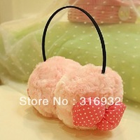 J5 Christmas PINK BOW design plush ear Earmuffs, Ear Warmers Muffs plush earcap