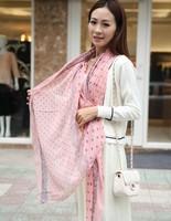 1PC 100*180cm OL Favorite Lace & Dots Printed Woman long Cotton scarves/WJ-167