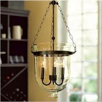 Loft american vintage glass pendant light transparent glass clock iron lamps