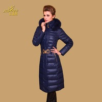 2013 down coat female long design high quality luxury fox fur white duck down slim