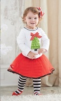 new girl's Christmas tree long-sleeved T veil princess three suits 6sets/lot