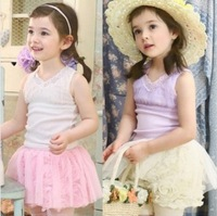 2013 Summer New Style Sleeveless V Collar Chest Tulle Baby Girl Vest Shirt Summer Children Vest Top