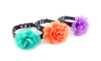 bling puppy doggie cat collars pu with big lace flowers S M 3colours