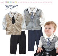 New winter boy gentleman tie long sleeve shirt + pants suit 5sets/lot