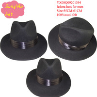 2014 newyear Special promotion Perect Black trilby hats fedora wool felt for suit and white lining for party or dance or dress