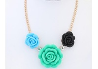 Min.order $10 Mix order New SPX3892 Fashion Amazing Gem Stone Rose Flower Necklace Free Shipping