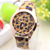 6 colors New fashion Ladies Watch Classic Gel Crystal leather leopard geneva watch 1pcs/lot