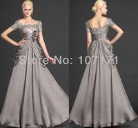 2013 Gorgeous New Short Sleeve Lace Bodice Formal Dress Handmade Flower Ruffle Chiffon Evening Dress