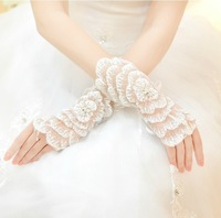 Free Shipping New Hot Sale Korean bride wedding gloves short paragraph mitts white wedding gloves wedding accessories