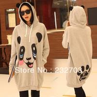 2013 female autumn winter cartoon panda ears with a hood pullover long design sweatshirt outerwear