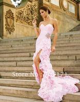 Fashion Latest Sweetheart Sheath Beaded Handmade Flower Pink Organza Long Prom Dress P150
