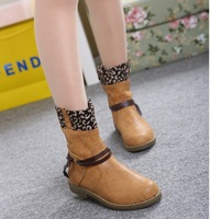 2013 new animal print cotton fabric rubber Leopard solid women motorcycle boots side zipper  winter boots shoes woman pumps